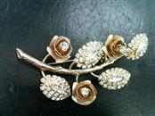 Beautiful Antique Gold-Colored Stainless Steel and Glass Stone Floral Brooch